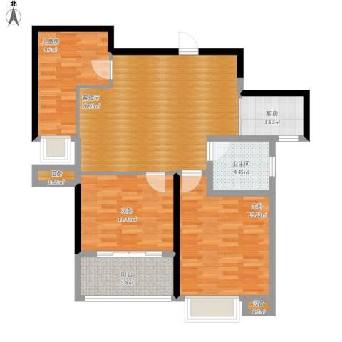 友创健康城3室1厅1卫1厨110.00㎡户型图