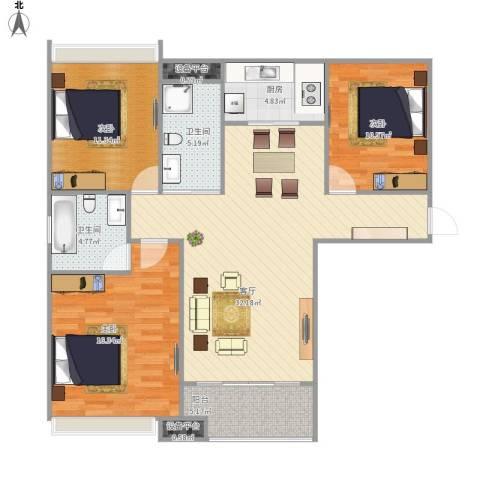 禹洲翡翠湖郡3室1厅2卫1厨124.00㎡户型图