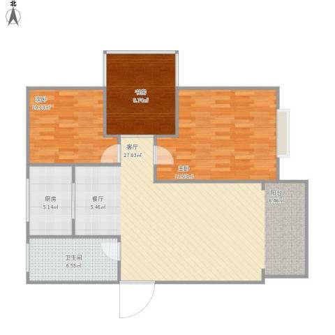 丁桥大唐苑3室1厅1卫1厨117.00㎡户型图