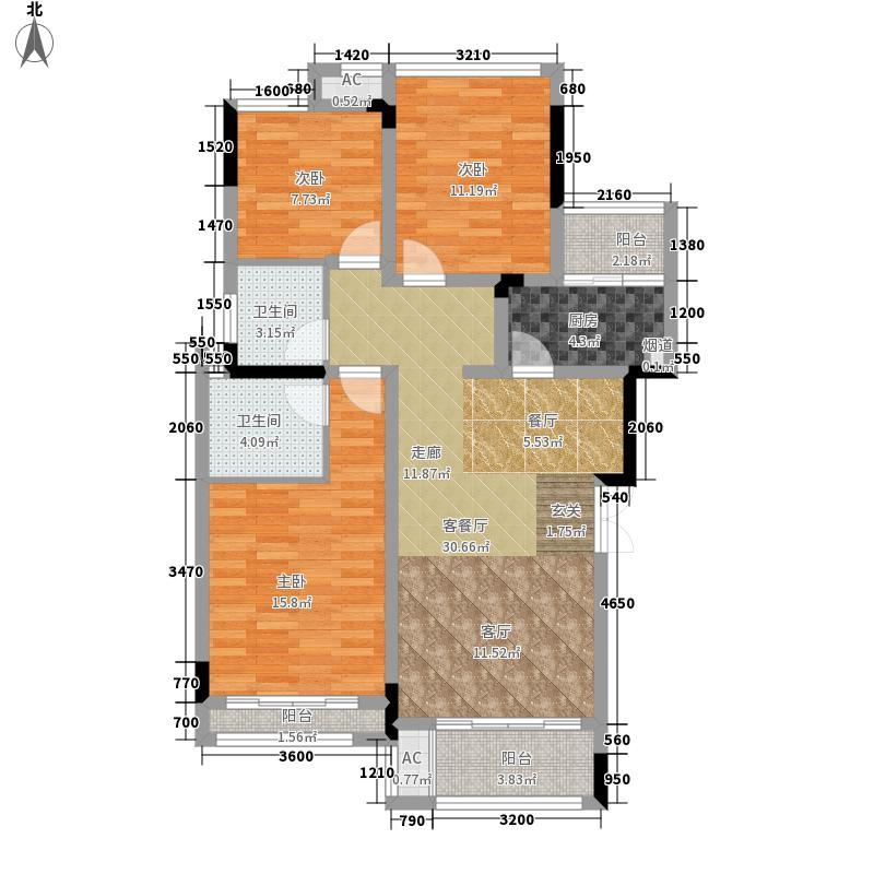 首信皇冠假日102.79㎡一期洋房9/10号楼标准层A2-7-3户型3室1厅