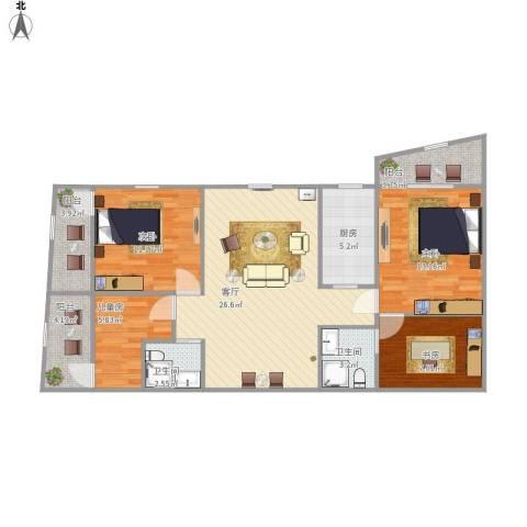 协诚中心大厦公寓4室1厅2卫1厨118.00㎡户型图