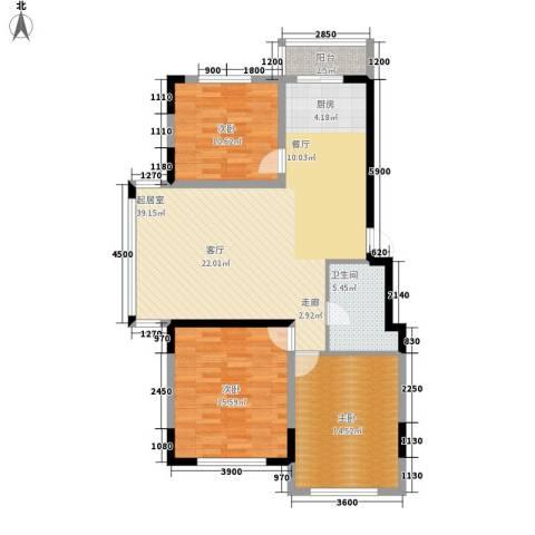 万盛中央一品3室0厅1卫0厨123.00㎡户型图