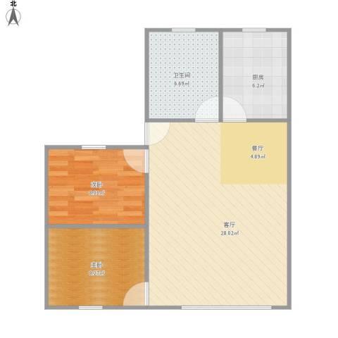 程桥二村2室1厅1卫1厨76.00㎡户型图