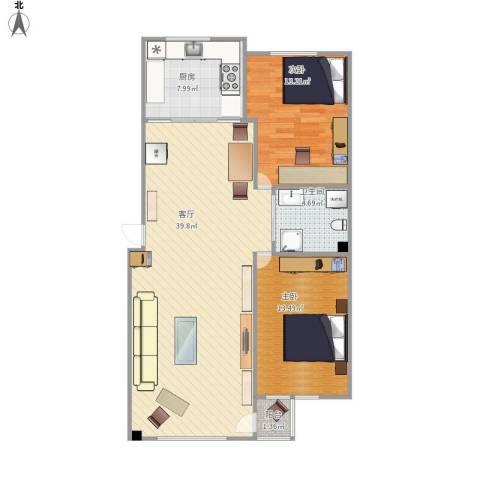 蓝郡.HOUSE2室1厅1卫1厨107.00㎡户型图