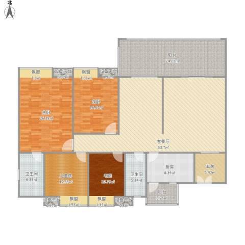 广东化州汇景新城4室1厅2卫1厨236.00㎡户型图