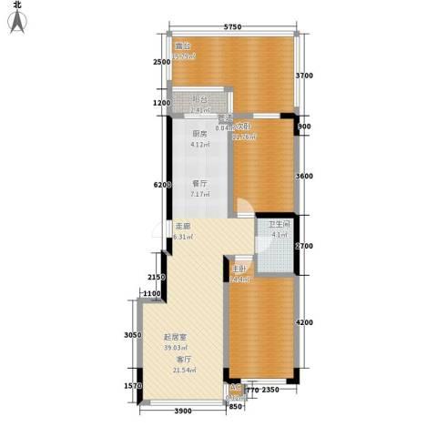 万盛中央一品2室0厅1卫0厨125.00㎡户型图