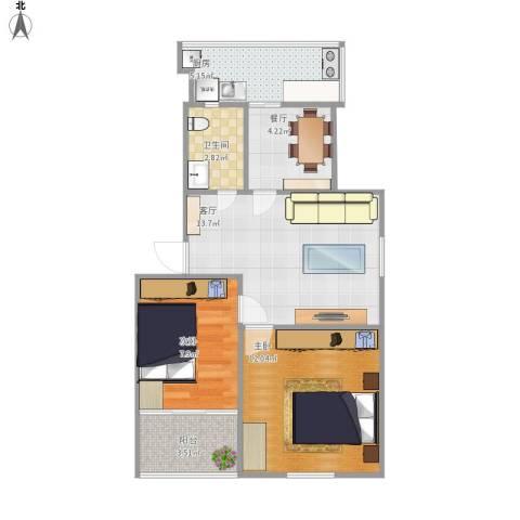 化纤小区2室2厅1卫1厨67.00㎡户型图