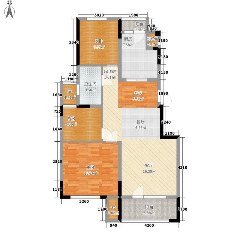 招商兰溪谷108.00㎡N户型3室2厅