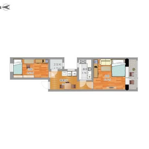 骚子营2号院2室1厅1卫1厨61.00㎡户型图