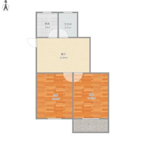 454341淞泽家园一区2室1厅1卫1厨64.00㎡户型图