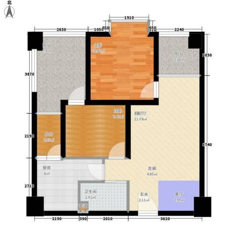 鸿阁一号2室1厅1卫1厨77.00㎡户型图