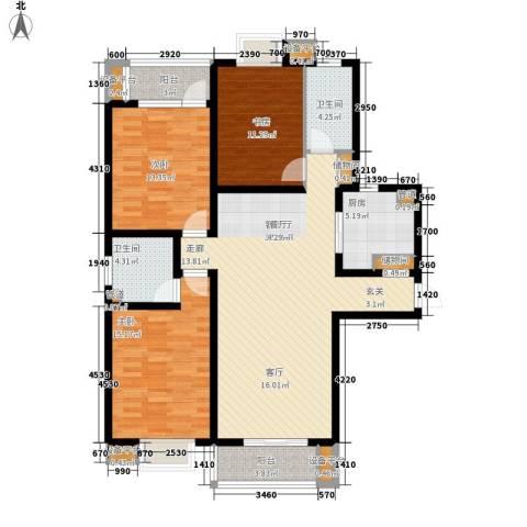 华林国际3室1厅2卫1厨146.00㎡户型图