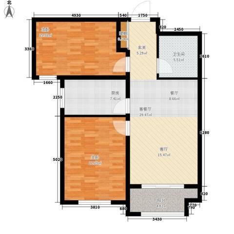 花香漫城2室1厅1卫1厨114.00㎡户型图