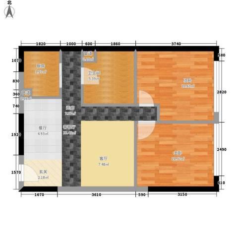 观城2室1厅1卫1厨80.00㎡户型图