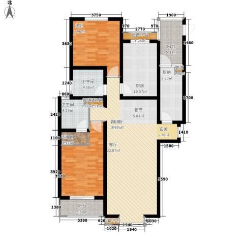 华林国际2室1厅2卫2厨149.00㎡户型图