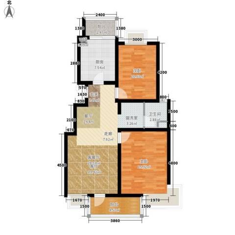 北苑之星2室1厅1卫1厨96.00㎡户型图