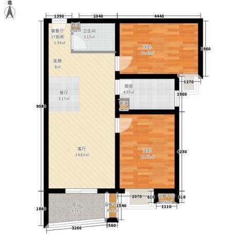 华林国际2室1厅1卫1厨93.00㎡户型图