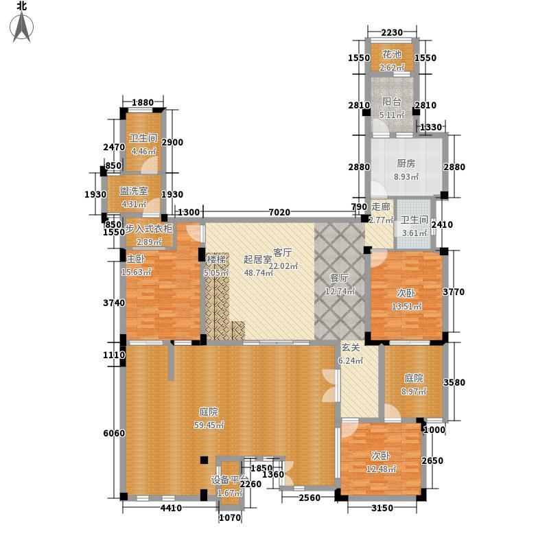 万科金域华府145.00㎡万科金域华府户型图花园别墅一层3房2厅2卫(5/15张)户型3室2厅2卫