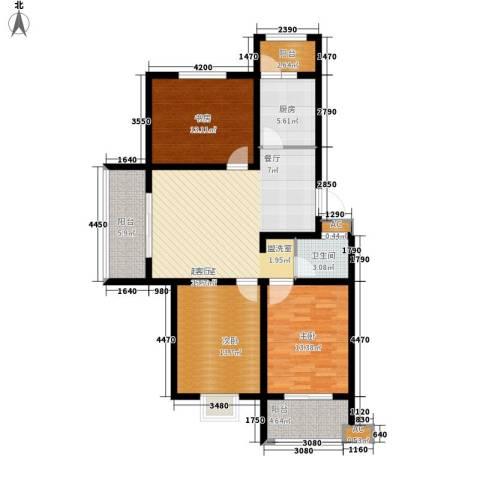 丽景天下3室0厅1卫1厨121.00㎡户型图