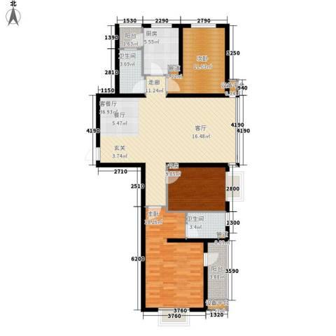 华林国际3室1厅2卫1厨135.00㎡户型图