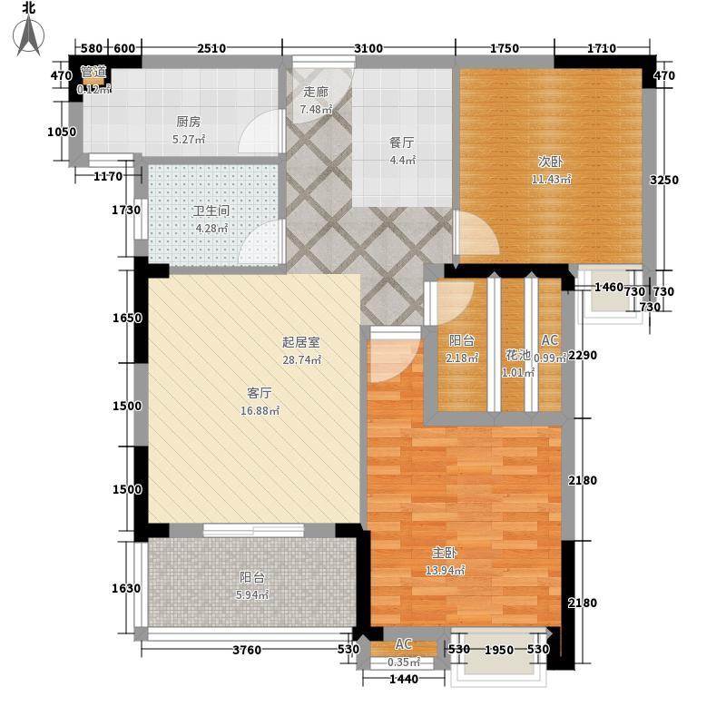 江南新天地94.00㎡二期1号楼F3户型2室2厅