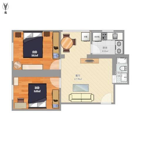 彩虹街2号院2室1厅1卫1厨60.00㎡户型图