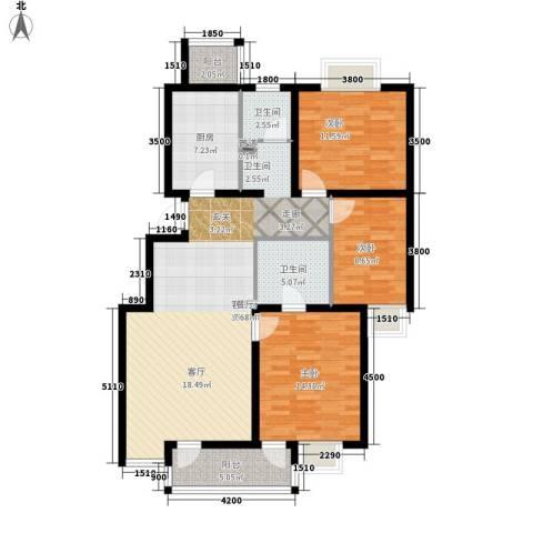 北苑之星3室1厅2卫1厨119.00㎡户型图