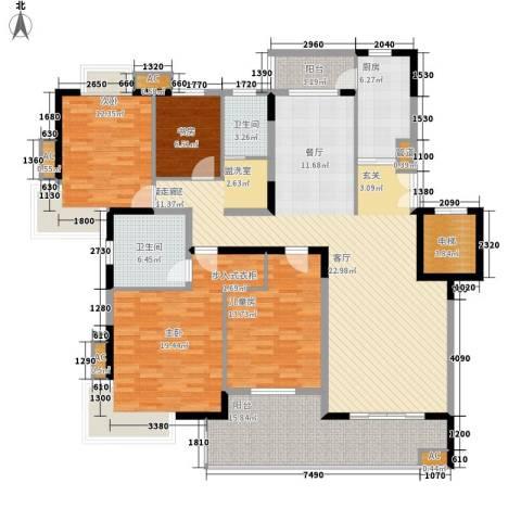 奥体新城木樨园4室0厅2卫1厨206.00㎡户型图