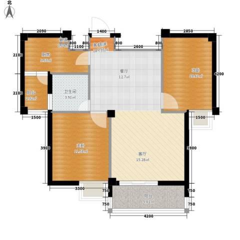 长泰花园2室1厅1卫1厨87.00㎡户型图