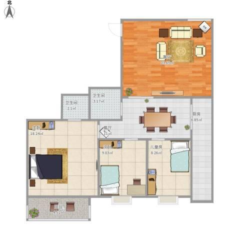 龙园小区3室2厅2卫1厨117.00㎡户型图