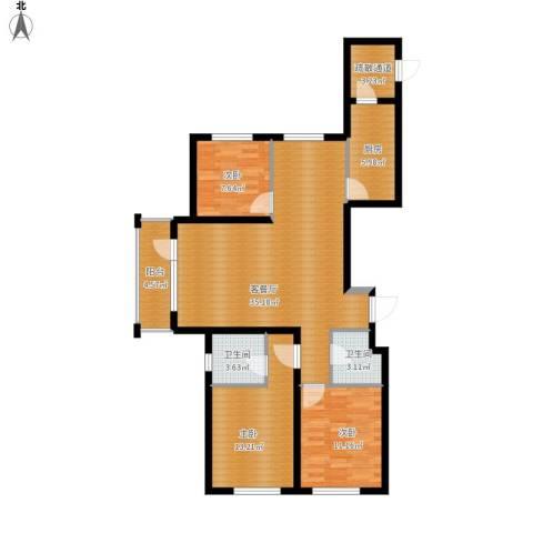 格林馨港湾3室1厅2卫1厨125.00㎡户型图