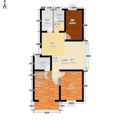 爱达花园兰花园3室0厅2卫1厨108.00㎡户型图