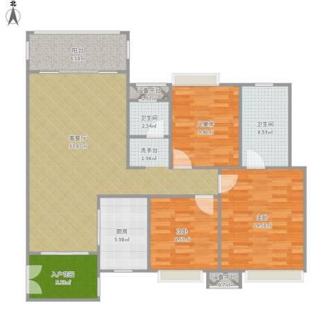 东方时代广场3室1厅2卫1厨128.00㎡户型图