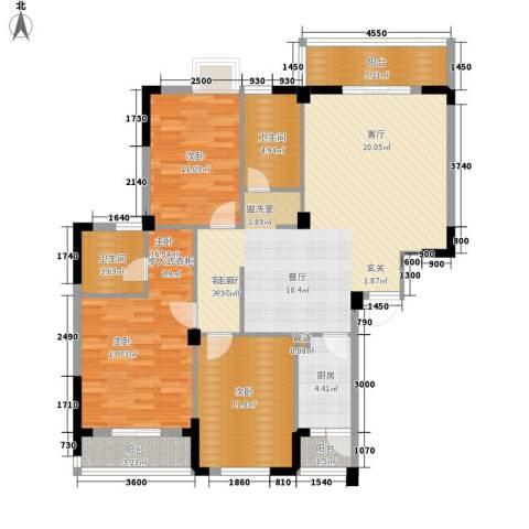 长泰花园3室1厅2卫1厨129.00㎡户型图