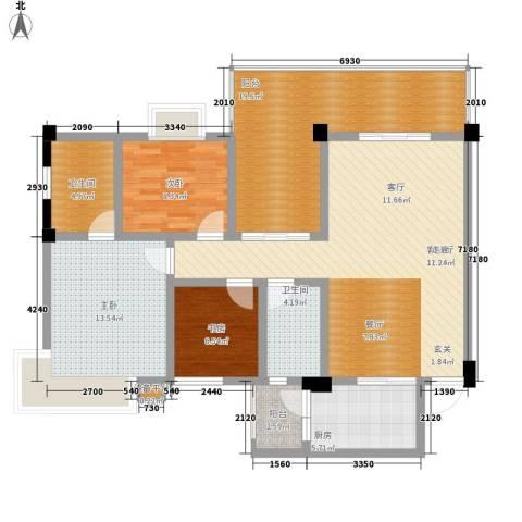 鸿阁一号3室1厅2卫1厨116.00㎡户型图