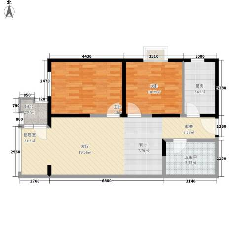 保利金泉2室0厅1卫1厨76.31㎡户型图