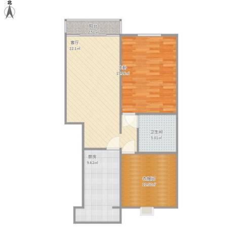 三山新新家园1室1厅1卫1厨87.00㎡户型图