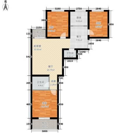 风情假日3室0厅2卫1厨99.00㎡户型图