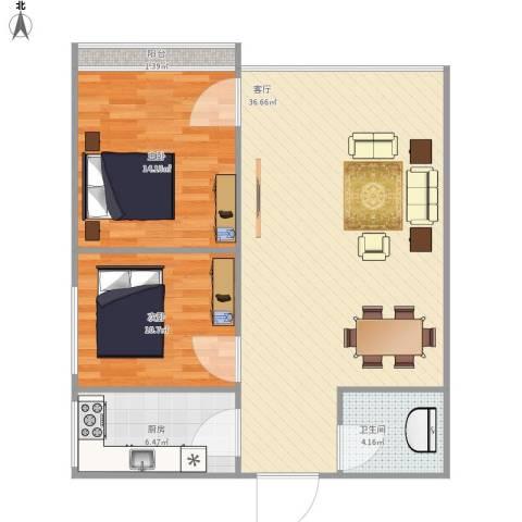 黄金嘉园2室1厅1卫1厨98.00㎡户型图