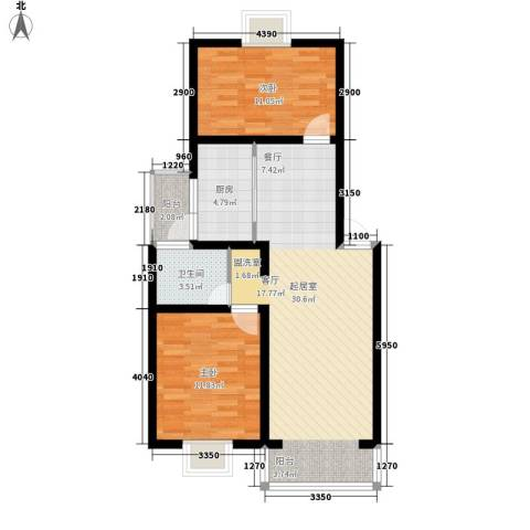 爱达花园兰花园2室0厅1卫1厨92.00㎡户型图
