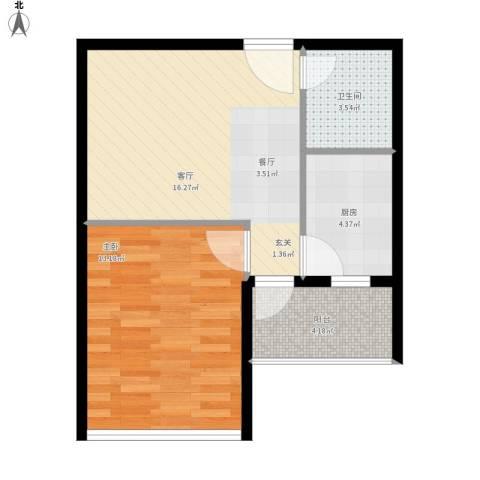 兰亭熙园1室1厅1卫1厨58.00㎡户型图