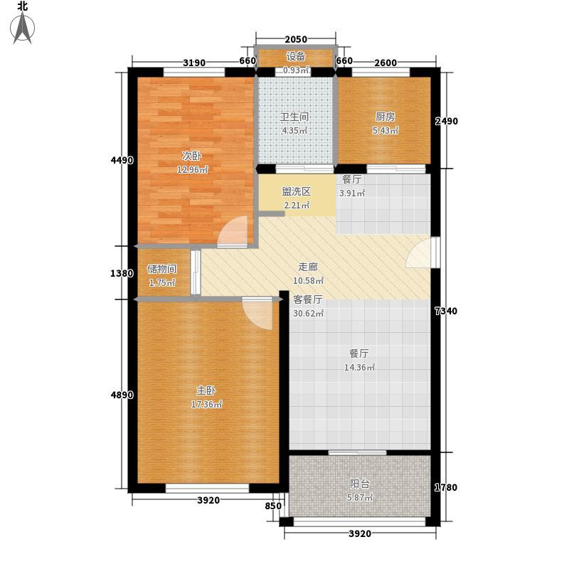 嘉悦景苑89.00㎡套房两侧标准层户型2室2厅