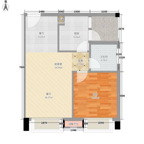 都市兰亭1室0厅1卫1厨53.00㎡户型图