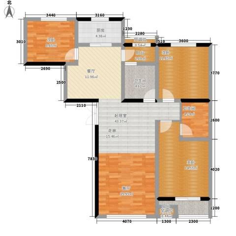 华夏家园B区3室0厅2卫1厨124.00㎡户型图