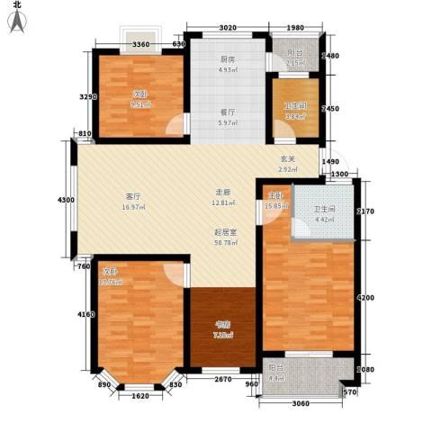 广天青城雅居3室0厅2卫0厨122.00㎡户型图