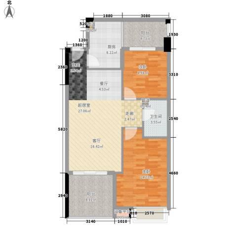 都市兰亭2室0厅1卫1厨83.00㎡户型图