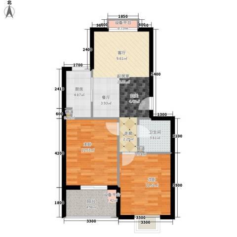 七里晴川2室0厅1卫1厨73.00㎡户型图