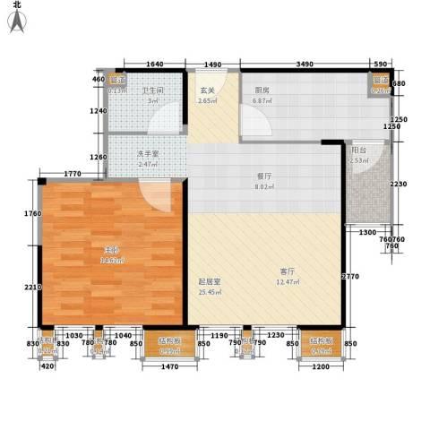 中粮大道1室0厅1卫1厨65.00㎡户型图