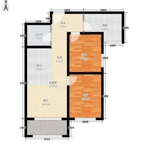 祺泰新居2室0厅1卫1厨89.00㎡户型图