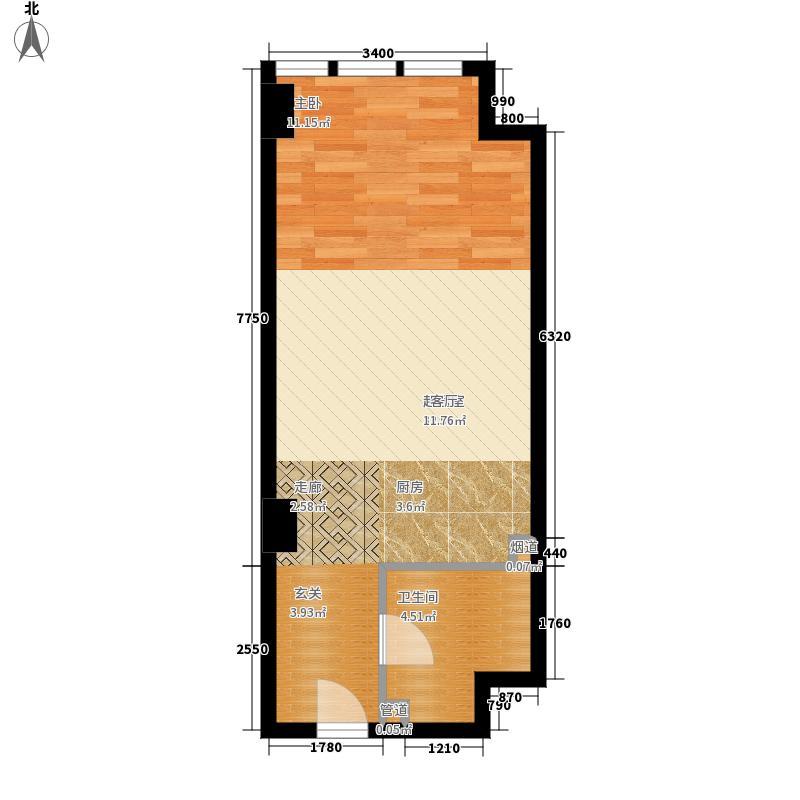 万隆国际中心54.78㎡2号楼公寓B面积5478m户型